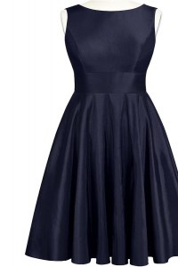 Affordable Navy Blue A-line Taffeta Scoop Sleeveless Bowknot Knee Length Backless Dress for Prom