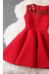 Scoop Red Sleeveless Satin Zipper Homecoming Dress for Prom and Party