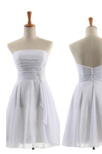 Romantic Knee Length White Celebrity Inspired Dress Strapless Sleeveless Zipper