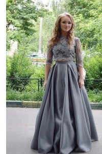 New Style Scoop Floor Length Grey Dress for Prom Satin 3 4 Length Sleeve Lace