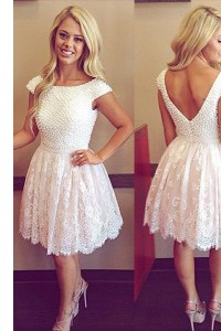 High End White Scoop Neckline Lace Prom Evening Gown Cap Sleeves Zipper