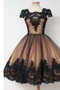 Black Cap Sleeves Tulle Zipper Prom Dress for Prom and Party