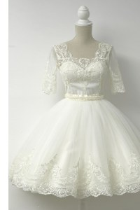 White Square Neckline Lace Homecoming Dress Half Sleeves Zipper