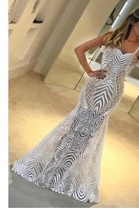 Beautiful Mermaid Floor Length White Evening Dress Lace Sleeveless Lace
