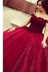 Smart Off the Shoulder Lace Homecoming Dress Wine Red Zipper Short Sleeves Floor Length