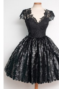 Custom Made Lace Knee Length Black Prom Party Dress V-neck Cap Sleeves Zipper