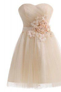 Champagne Homecoming Dress Prom and Party and For with Beading and Hand Made Flower Sweetheart Sleeveless Lace Up