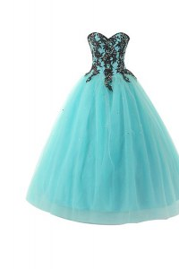 Aqua Blue Sleeveless Appliques Floor Length Evening Dress
