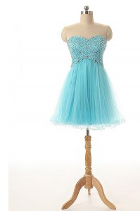 Flirting Knee Length Aqua Blue Cocktail Dress Tulle Sleeveless Beading