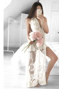 V-neck Sleeveless Prom Evening Gown Floor Length Lace White Tulle
