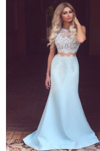 Mermaid Scoop Light Blue Homecoming Dress Satin Sweep Train Sleeveless Lace