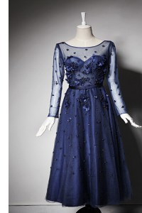 Low Price Scoop Tea Length Navy Blue Evening Dress Tulle Long Sleeves Beading and Hand Made Flower