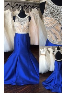 Romantic Mermaid Royal Blue Prom Dresses Scoop Sleeveless Sweep Train Backless
