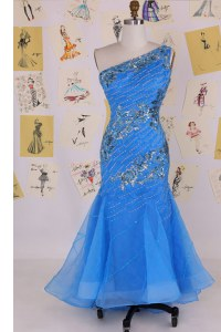 Mermaid One Shoulder Blue Sleeveless Chiffon Zipper Prom Homecoming Dress for Prom and Party