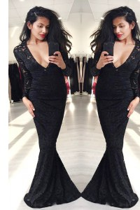Hot Selling Mermaid Black Long Sleeves Lace Zipper Prom Dresses for Prom and Party