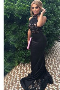 Sexy Mermaid Black Zipper Evening Dress Lace and Appliques Sleeveless With Train Sweep Train