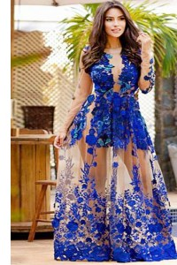 Scoop Floor Length Mermaid Long Sleeves Royal Blue Womens Evening Dresses Zipper