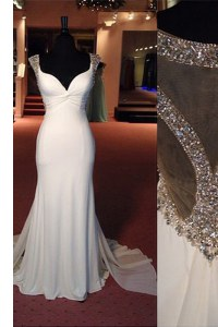 Discount Mermaid White Side Zipper Scoop Beading Evening Dress Chiffon Sleeveless Sweep Train