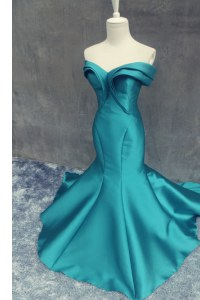 Mermaid Teal Sweetheart Zipper Ruching Juniors Evening Dress Brush Train Sleeveless