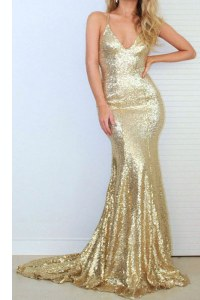 Chic Mermaid Gold Spaghetti Straps Neckline Sequins Homecoming Dress Sleeveless Criss Cross
