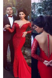 Wonderful Mermaid Scoop Red Long Sleeves Elastic Woven Satin Sweep Train Zipper Going Out Dresses for Prom and Party