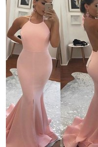 Gorgeous Mermaid With Train Peach Evening Outfits Spaghetti Straps Sleeveless Sweep Train Backless