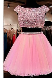 Pink Tulle Zipper Dress for Prom Cap Sleeves Mini Length Beading
