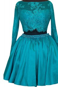 Teal Satin Zipper Homecoming Dress Long Sleeves Mini Length Beading and Lace