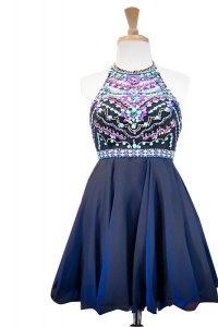 Mini Length Navy Blue Pageant Dress for Girls Halter Top Sleeveless Side Zipper