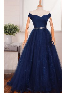 Designer With Train Navy Blue Prom Dresses Off The Shoulder Sleeveless Brush Train Zipper