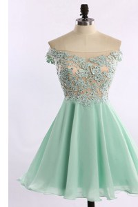 Off The Shoulder Cap Sleeves Zipper Evening Dress Apple Green Chiffon