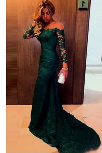 Pretty Mermaid Off the Shoulder Long Sleeves Lace Zipper Dress for Prom with Dark Green Sweep Train