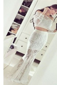 Pretty Mermaid Off the Shoulder Floor Length White Evening Party Dresses Lace Long Sleeves Lace
