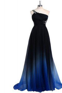 Navy Blue Prom Evening Gown Prom and Party and For with Beading One Shoulder Sleeveless Criss Cross