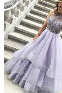 Captivating Scoop Sleeveless Organza Floor Length Zipper Dress for Prom in Lavender with Beading