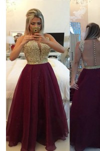 Burgundy Prom and Party and For with Beading and Appliques V-neck Sleeveless Zipper