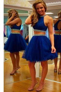 High Class Halter Top Beading and Belt Prom Dress Royal Blue Zipper Sleeveless Mini Length