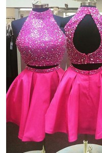 Halter Top Sleeveless Zipper Mini Length Beading Pageant Gowns