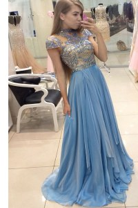 Scoop Cap Sleeves Sweep Train Beading Zipper Prom Dress