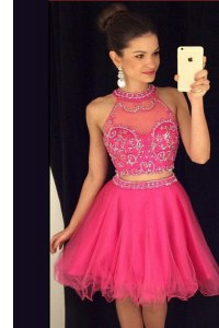 Clearance Hot Pink A-line Scoop Sleeveless Tulle Mini Length Zipper Beading Club Wear