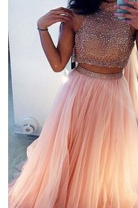 High-neck Sleeveless Sweep Train Side Zipper Prom Party Dress Peach Tulle