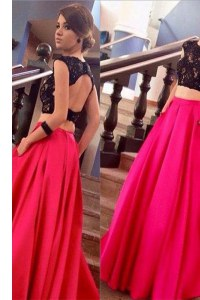 Pink And Black A-line Satin Scoop Short Sleeves Lace Backless Homecoming Dress Brush Train