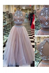 Pink Tulle Zipper High-neck Sleeveless Floor Length Prom Dresses Beading
