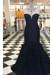 Mermaid Scoop Black Side Zipper Dress for Prom Beading Sleeveless Sweep Train