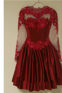 Glittering Wine Red Zipper Scoop Appliques Prom Evening Gown Satin Long Sleeves