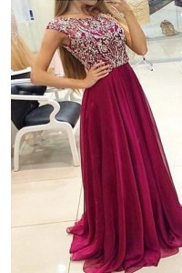 Sexy Burgundy A-line Bateau Cap Sleeves Chiffon With Train Sweep Train Zipper Beading Prom Evening Gown