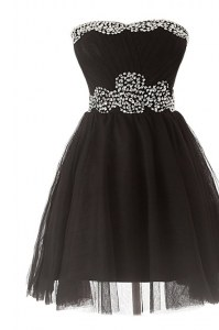 Glittering Black Club Wear Prom and For with Beading Sweetheart Sleeveless Zipper