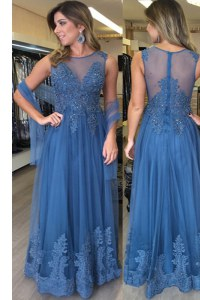 Blue Scoop Neckline Beading and Appliques Sleeveless Zipper