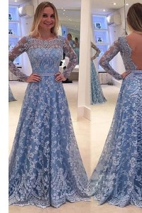 Latest Scoop Lace A-line Long Sleeves Blue High School Pageant Dress Sweep Train Backless