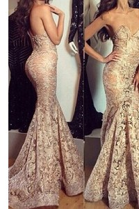 Romantic Mermaid Pleated Champagne Sleeveless Lace Sweep Train Zipper Prom Gown for Prom